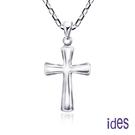 ides愛蒂思 輕珠寶義大利進口14K白金十字架項鍊鎖骨鍊(16吋-KP745)