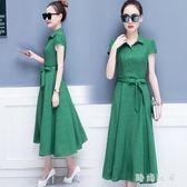 大尺碼 棉麻洋裝2018夏裝新款韓版修身顯瘦氣質中長款 ZB1441『時尚玩家』