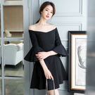 VK精品服飾 韓系時尚氣質荷葉喇叭袖顯瘦長袖洋裝