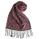 GINZA U時尚豹紋風織紋羊毛圍巾(桃粉色)359999-54
