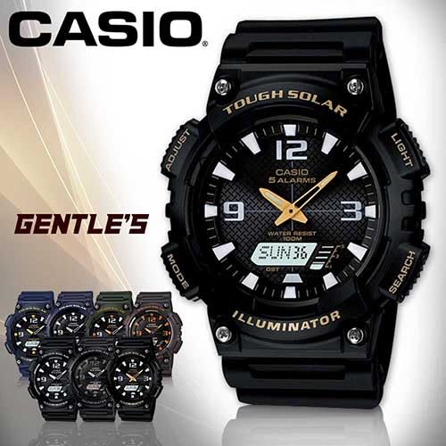 CASIO 卡西歐手錶專賣店 AQ-S810W-1B 男錶 黑面金框 雙顯錶 橡膠錶帶 太陽能 鬧鈴 倒數 LED