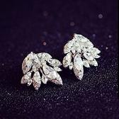 耳環 925純銀鑲鑽-亮眼樹葉情人節生日禮物女耳飾73du44【時尚巴黎】