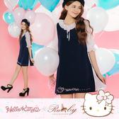 洋裝 Hello Kitty x Ruby 聯名款-荷葉領刺繡百褶雪紡假兩件短袖洋裝-Ruby s 露比午茶