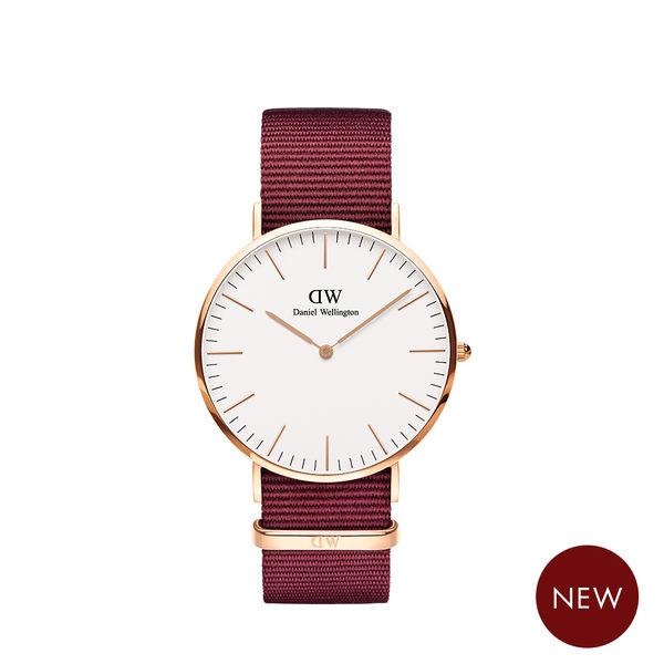 Daniel Wellington DW 手錶 40mm玫瑰金框 Classic 玫瑰紅織紋手錶
