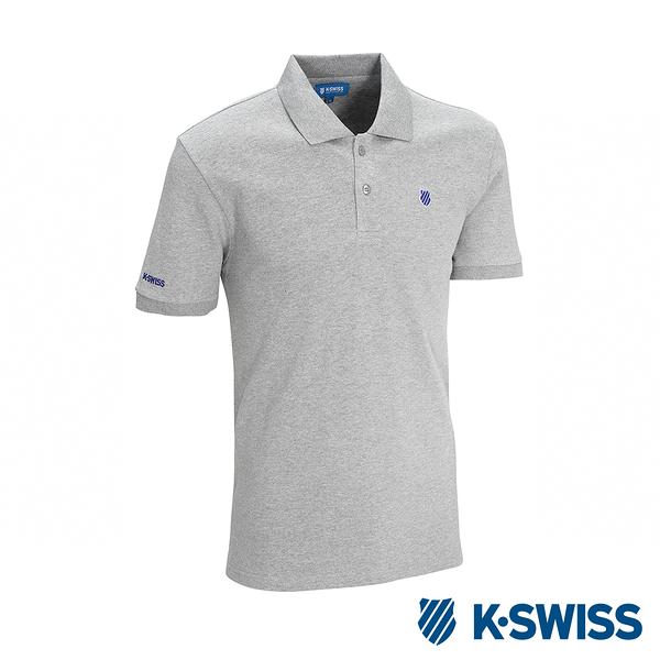K-SWISS KS Polo w/Shied Logo Patch短袖POLO衫-男-灰