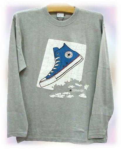 【波克貓哈日網】長袖T恤◇ CONVERSE ◇《灰色-帆布鞋圖案》   L