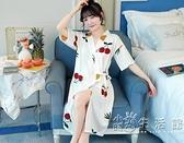 和服式睡袍女中長款可愛睡裙夏季薄款浴袍純棉短袖晨袍家居服睡衣 小時光生活館