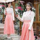 兩件套漢服原創民族風女日常改良古漢服繡花交領襦裙兩件套 週年慶降價