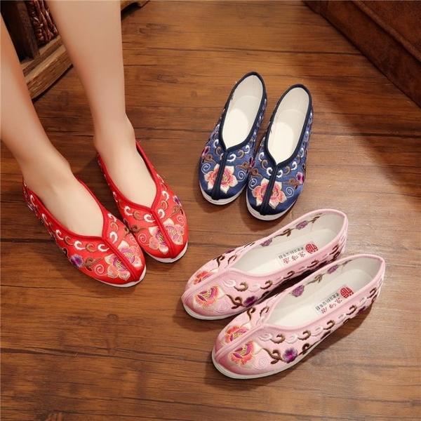 老北京新娘鞋純手工繡花婚鞋紅色秀禾鞋子牛筋底中式平底跟布鞋女