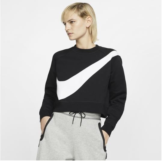 NIKE服飾系列-NSW SWSH CREW FLC BB 女款黑色短版毛絨運動衫-NO.BV3934011