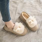 可愛日系毛毛鞋女冬外穿2019秋季新款平底一腳蹬豆豆鞋樂福鞋單鞋 安妮塔小舖