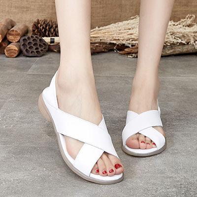 淺口魚嘴涼鞋 真皮包跟涼鞋 鏤空休閒涼鞋/3色-夢想家-標準碼-0522