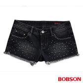 BOBSON 女款超低腰燙貼鑽鋁牛仔短褲(215-52)