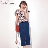 Victoria吸濕排汗高彈膝下窄裙-女-深藍-S-XL
