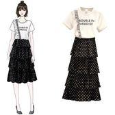 促銷價不退換T恤半身裙兩件套M-4XL中大尺碼33605胖mm新款時尚網紗長款仙女套裝裙波點裙子