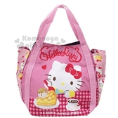 〔小禮堂〕Hello Kitty 帆布托特包手提包《紅粉.吃鬆餅》手提袋.外出袋.便當袋 4582135-13202