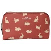 【COACH】滿版兔子手拿包/化妝包(兔子粉)