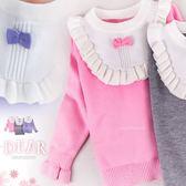 小公主氣質加分~保暖荷葉邊領圍針織長袖上衣-新年(260410)★水娃娃時尚童裝★