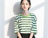 孜索2019夏季新T恤港風綠色條紋短袖女潮寬松BF風帥氣學生上衣