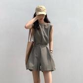 春裝新款收腰顯瘦法式小眾工裝風闊腿無袖連身短褲女學生 - 歐美韓熱銷