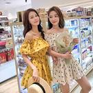 VK精品服飾 韓系碎花菠蘿修身顯瘦一字領短袖洋裝