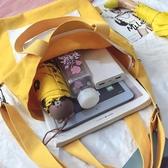 帆布包女單肩 中包大學生上課書包韓版百搭2019新款斜挎手提袋