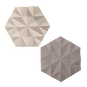 (組)丹麥ZONE FACET系列菱紋矽膠鍋墊-櫸木黃+沙漠灰