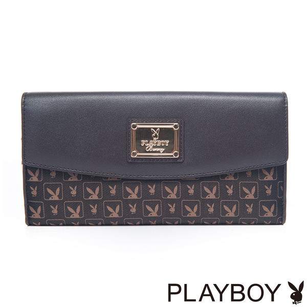PLAYBOY- Chocolate 愛戀朱古力系列 壓釦式長夾-朱古力色