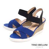 Tino Bellini巴西進口彈力繃帶楔形涼鞋_ 藍 B73212 歐洲進口款