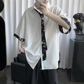 韓版襯衫男短袖很仙的半袖上衣痞帥港風碎花襯衣夏季 【免運快出】