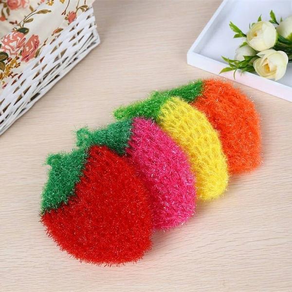 韓國草莓針織洗碗刷 不掉毛不沾油刷 碗布廚房不傷鍋清潔布 菜瓜布
