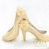 現貨 MIT小中大尺碼新娘婚鞋推薦閃耀阿波羅 水鑽花朵圓頭真皮腳墊高跟鞋21-26EPRIS艾佩絲-高貴金