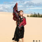 春秋絲巾女夏季民族風流蘇棉麻防曬青海旅游沙漠紅色圍巾披肩紗巾