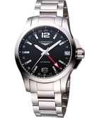 LONGINES 浪琴 征服者GMT優雅典範腕錶/手錶-黑/銀/41mm L36874566