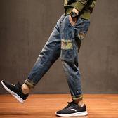 鬆緊腰牛仔褲男秋季大尺碼寬鬆哈倫褲束腳男士長褲子個性迷彩男褲潮