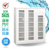 IHouse-SGS 防潮抗蟲蛀緩衝塑鋼三門一抽鞋櫃胡桃白
