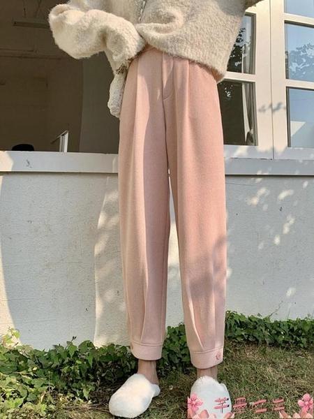 束腳褲哈倫褲網紅奶奶褲女秋冬新款外穿粉色蘿卜褲冬季褲子休閒褲束腳褲  芊墨左岸 上新