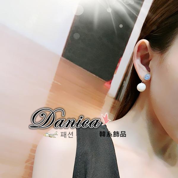 耳環 現貨 韓國 氣質 超美 閃亮 六爪 鋯石 後掛耳環 S91907 批發價 Danica 韓系飾品 韓國連線
