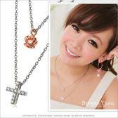 項鍊 正白K飾「氣質女孩」雙鍊 銀色十字架 皇冠 送單面刻字