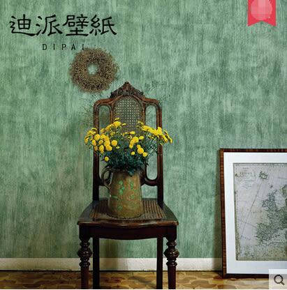 美式複古綠色純色牆紙做舊素色無紡布壁紙淺黃淺卡其色客廳服裝店