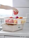 雙層方形洗菜籃子瀝水籃塑膠家用創意水果盤多功能廚房淘米洗菜盆 町目家