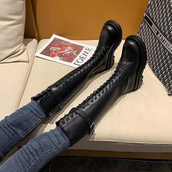 厚底長靴女2021年新款秋冬皮面長筒靴小個子不過膝高筒靴騎士靴3C數位百貨