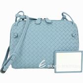 BOTTEGA VENETA 小型 手工編織羊皮斜背包(冰藍色) 1440240-27