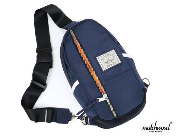 Matchwood - Hunter 單肩後背包 側背斜背胸前隨身包 海軍藍銀拉鍊款