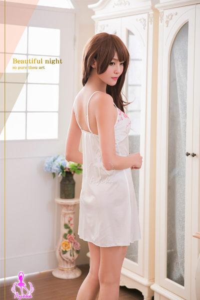 睡衣 性感睡衣 浪漫側開襟柔緞純白性感睡衣 星光密碼 F031