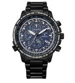 【台南 時代鐘錶 CITIZEN】星辰 Promaster 鈦金屬 光動能電波萬年曆 三眼計時腕錶 AT8195-85L 黑/藍 44.3mm