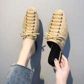 2019春季新款包頭懶人半拖鞋女外穿平底穆勒鞋百搭中跟網紅涼拖鞋