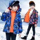 男童外套 童裝男童沖鋒衣三合一可拆卸新款兒童春秋款加厚男孩加絨刷毛外套