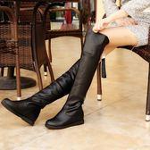 過漆靴 過膝長靴瘦腿彈力靴平跟中大尺碼高筒靴子女士過膝靴單靴 88折下殺