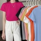 超火cec短袖t恤女裝2021新款潮泫雅風半袖寬鬆韓版素色上衣糖果色 童趣屋 免運